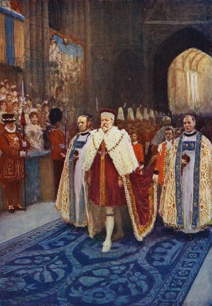 King Edward VII entering Westminster Abbey on his coronation (colour litho)