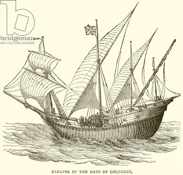 Caravel in the Days of Columbus (engraving)