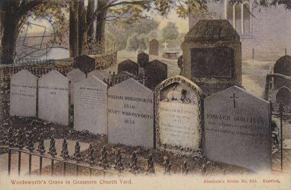 Wordsworth's Grave in Grasmere Church Yard (coloured photo)