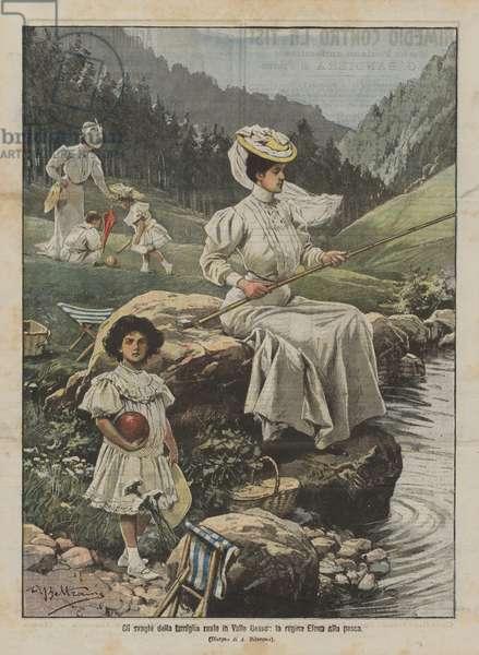 Gli svaghi della famiglia reale in Valle Gesso, la regina Elena alla pesca (colour litho)
