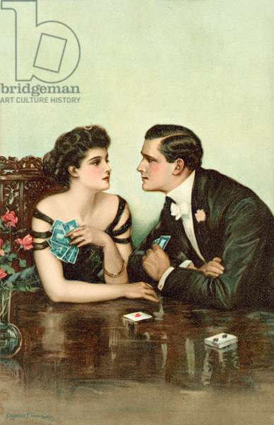 Couple playing cards (colour litho)