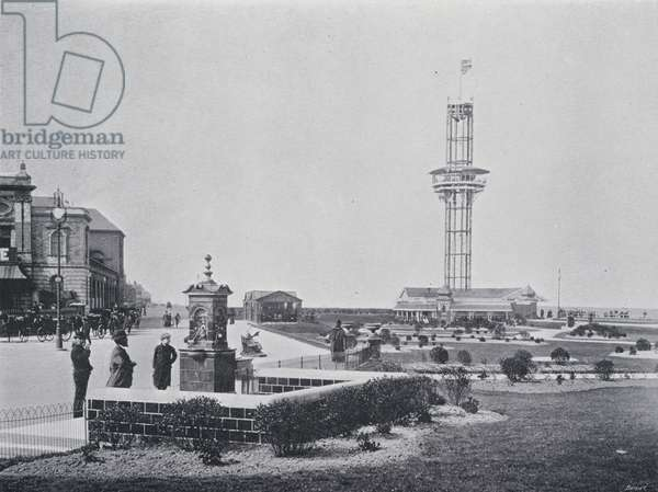 Jubilee Fountain and Eiffel Tower, Great Yarmouth (b/w photo)