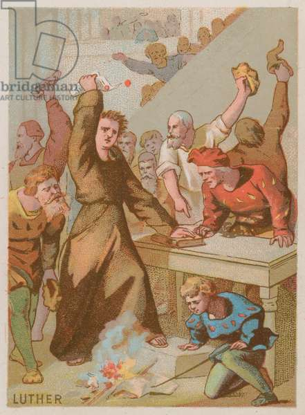 Martin Luther burning the Papal bull banning his works (chromolitho)