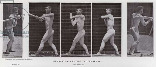 The Human Figure in Motion: Phases in batting at baseball (b/w photo)