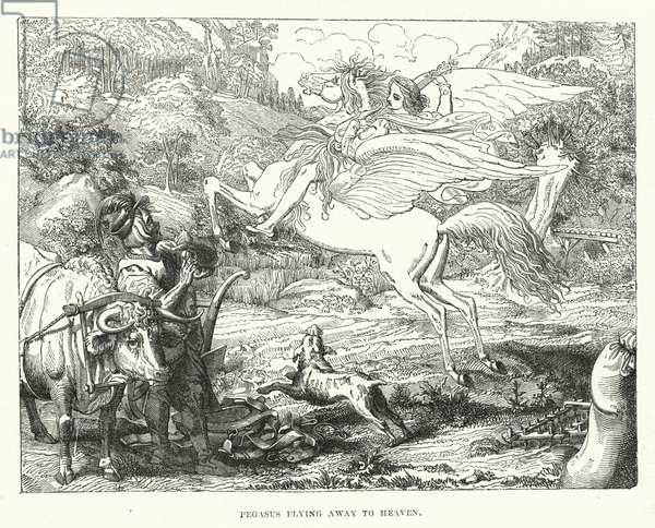 Pegasus flying away to heaven (engraving)