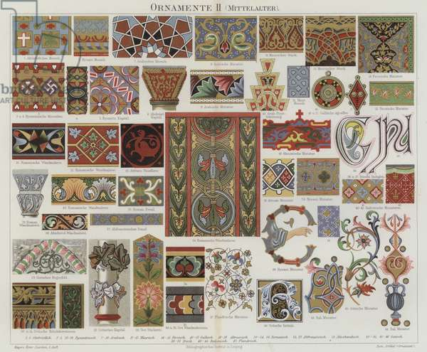 Medieval decorative art (colour litho)