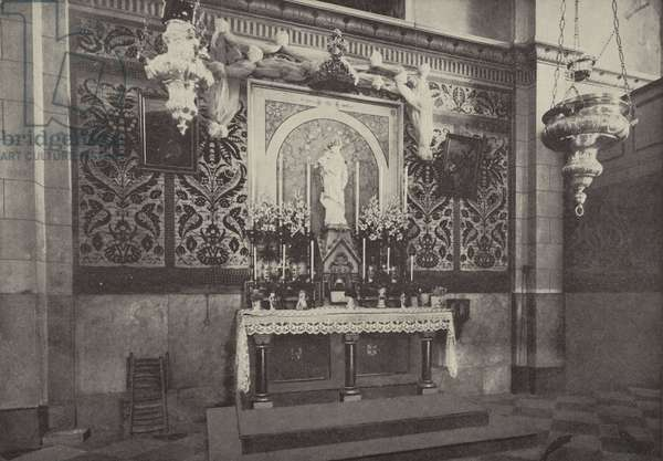 Altar of Latin Church, Nazareth, on the site of the house where Christ lived (b/w photo)