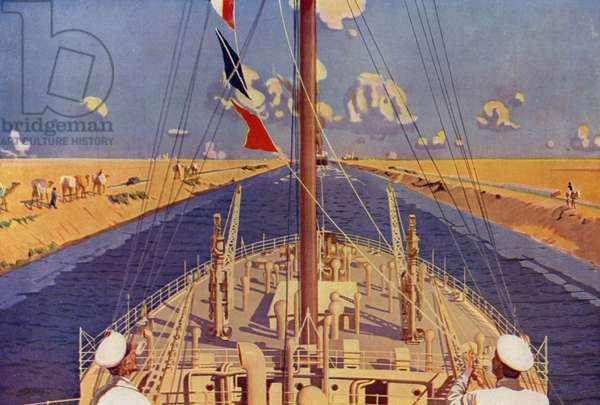 The Suez Canal (colour litho)