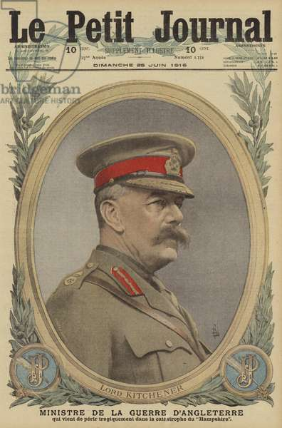 Field Marshal Lord Kitchener, British Minister of War, killed in the sinking of HMS Hampshire while on his way to Russia, World War I, 1916 (colour litho)
