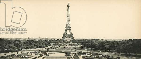 Paris, La Tour Eiffel et les Jardins du Champ-de-Mars, Eiffel Tower and Champ de Mars Gardens (b/w photo)