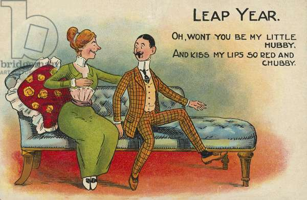 Leap year tradition: woman making a marriage proposal to a man (chromolitho)