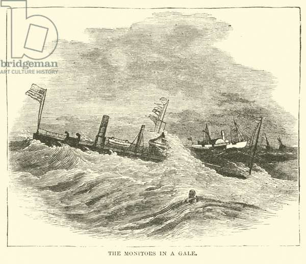 The monitors in a Gale, December 1864 (engraving)