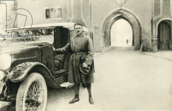 Nazi party leader Adolf Hitler after his release from Landsberg Prison, Germany, 1924 (b/w photo)