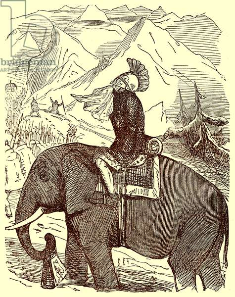 Hannibal Crossing the Alps, illustration from 'The Comic History of Rome' by Gilbert Abbott a Beckett, published c.1850 (digitally enhanced image)
