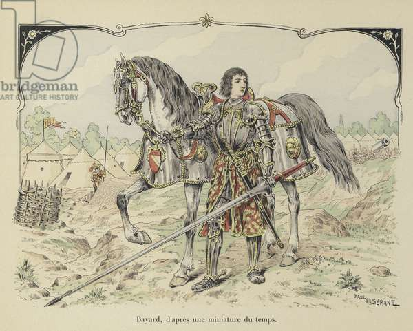 Pierre de Terrail, Chevalier de Bayard, French knight (colour litho)