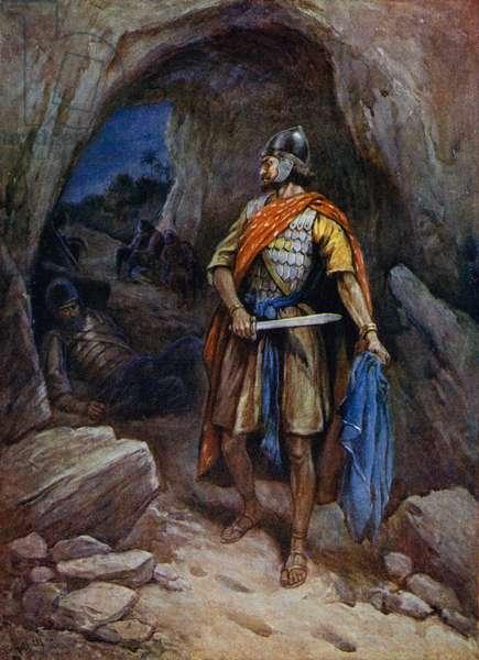 David cuts Saul's mantle (colour litho)