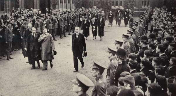 King Edward VIII at Bedford School (b/w photo)