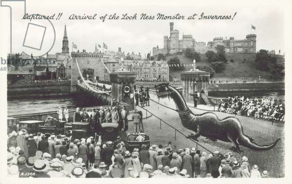 Captured!! Arrival of the Loch Ness Monster at Inverness (b/w photo)