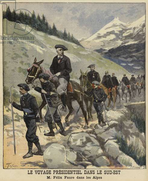 French President Felix Faure in the Alps, 1897 (colour litho)