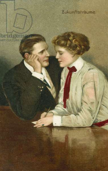 Couple, in serious discussions (colour litho)