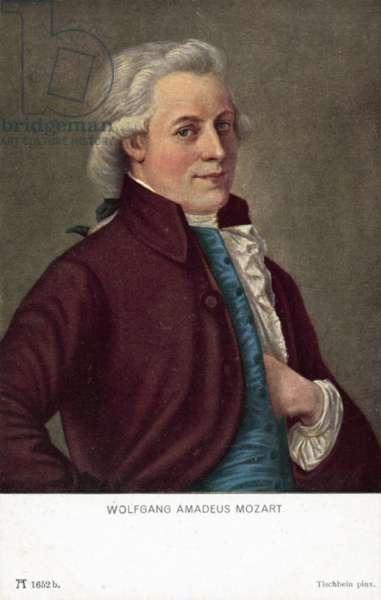 Wolfgang Amadeus Mozart (colour litho)
