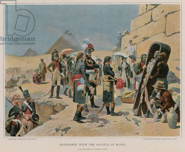 Bonaparte with the savants in Egypt (colour litho)