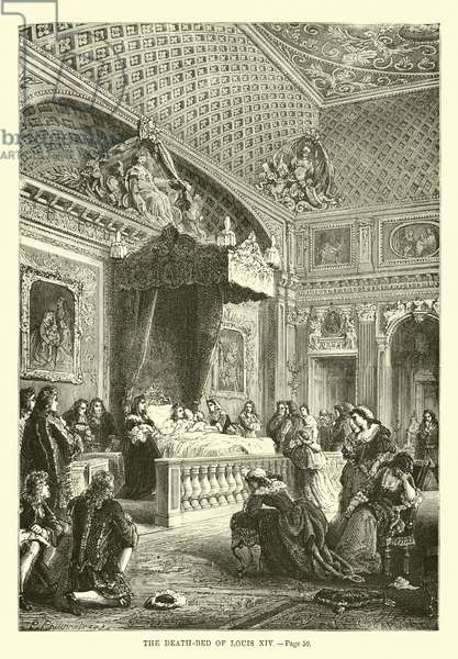 The death-bed of Louis XIV (engraving)