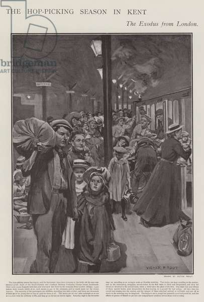 Seasonal hop pickers travelling by train from London to Kent (litho)