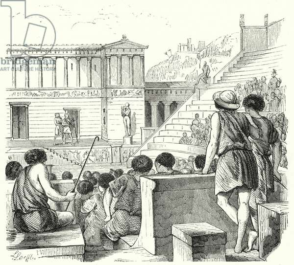 Ancient Greek theatre (engraving)