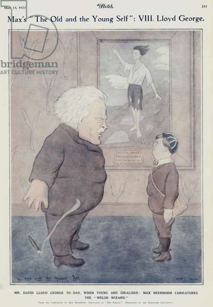 The Old and the Young Self: David Lloyd George, Welsh Liberal politician and Prime Minister (colour litho)