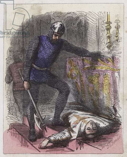 Death of a Becket (coloured engraving)
