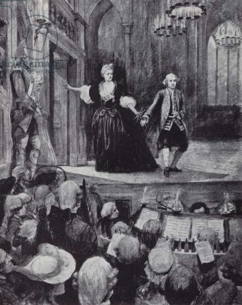 The famous actor David Garrick on stage (litho)