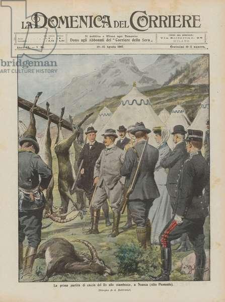 La prima partita di caccia del Re allo stambecco, a Noasca (Alto Piemonte) (colour litho)