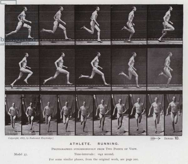 The Human Figure in Motion: Athlete, Running (b/w photo)