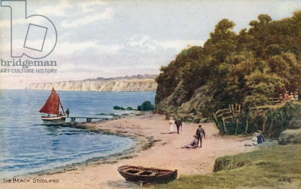 The Beach, Studland (colour litho)