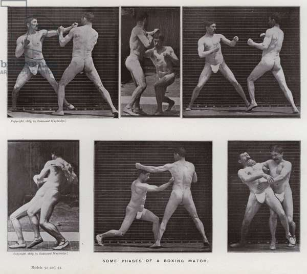 The Human Figure in Motion: Some phases of a boxing match (b/w photo)