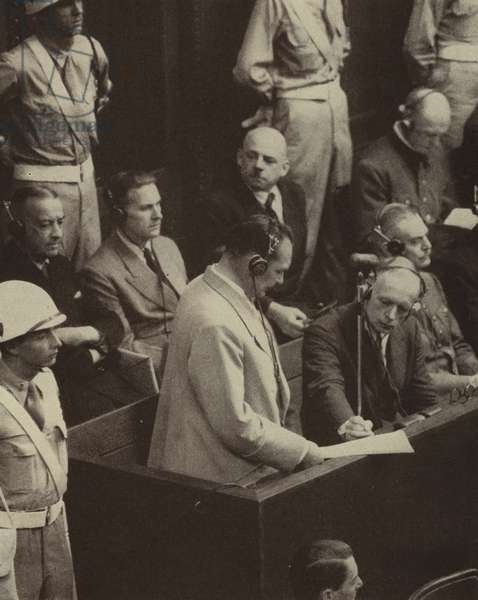 Hermann Goering making his final plea at the trial of leading Nazis for war crimes at Nuremberg, Germany, 31 August, 1946 (b/w photo)
