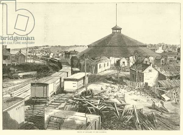 Depot of supplies on the railroad, October 1863 (engraving)