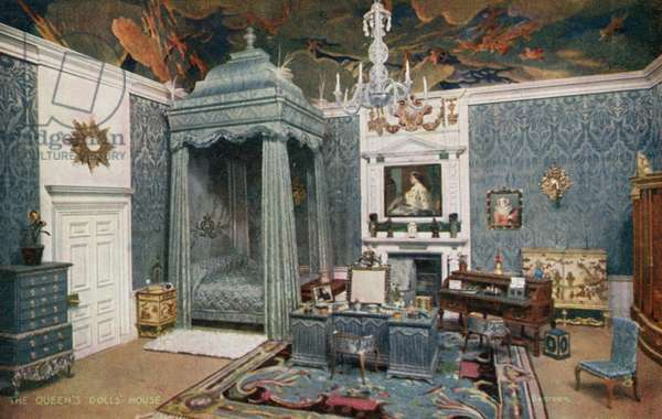 The Queen's Dolls' House: The Queen's Bedroom (colour litho)