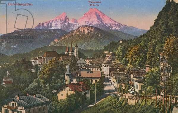 Watzmann mountain in Berchtesgaden, Germany. Postcard sent in 1913.