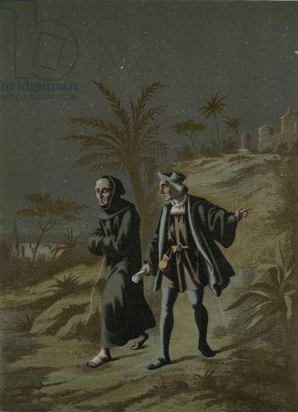 Columbus with the Prior of La Rabida go to Palos