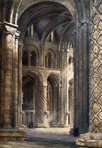 Durham, Interior of Cathedral looking Across the Nave into South Transept (colour litho)