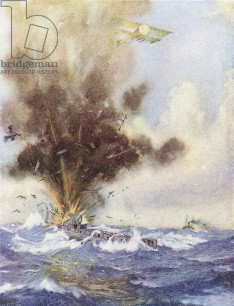 Squadron Leader Arthur Bigsworth attacks with bombs a German submarine, which fills and sinks off Ostend, Belgium, 26 August 1915 (colour litho)