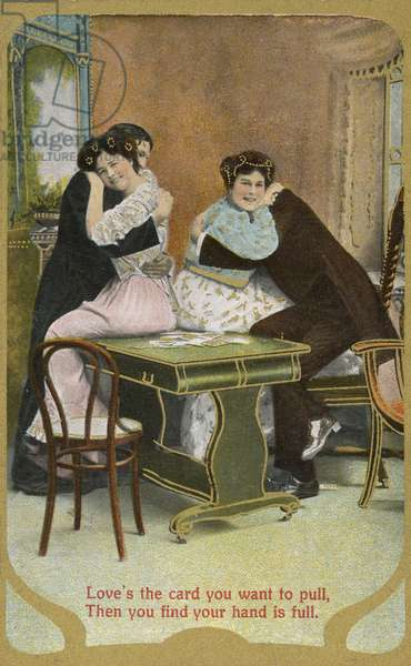Two couples cuddling (coloured photo)