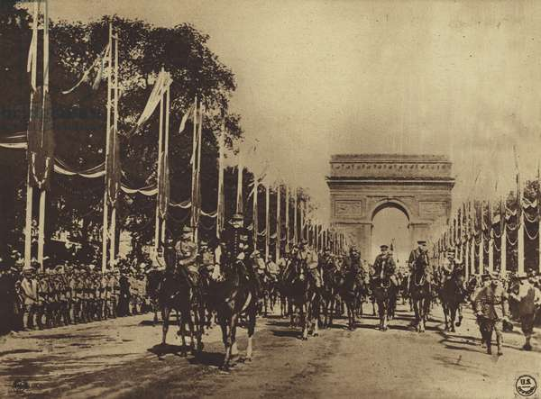 America in World War I: Marshals Joffre and Foch, and staff of Allied officers, leading the Victory Parade through the Arc de Triomphe, Paris, July 14, 1919 (b/w photo)
