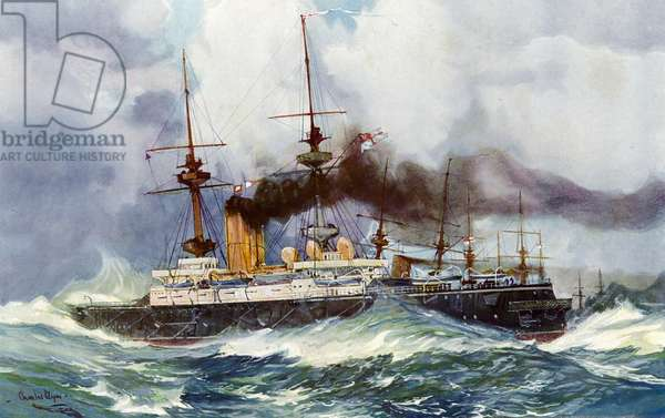 "The ""Mars"" in the Channel Squadron, 1901 (colour litho)"