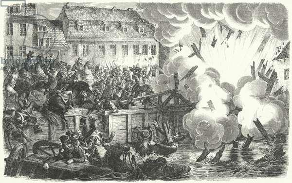 Blowing up of the Elster Bridge, Battle of Leipzig, 1813 (engraving)
