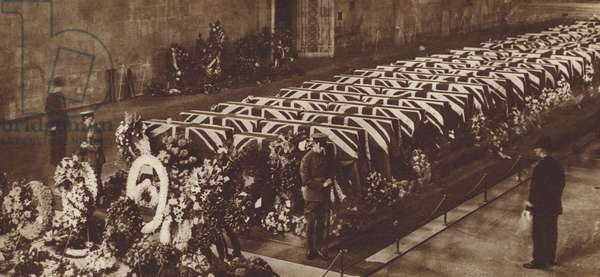 Coffins containing the bodies of the victims of the R101 airship disaster lying in state in Westminster Hall, London, 1930 (b/w photo)