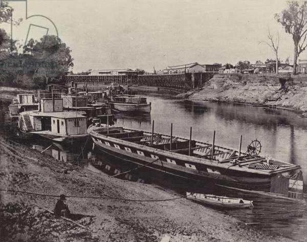 Echuca Wharf, River Murray (b/w photo)