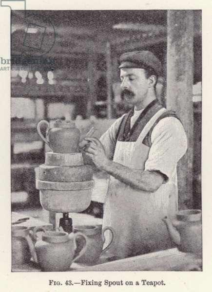 Fixing Spout on a Teapot (b/w photo)